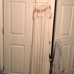 White embroidered maxi dress.